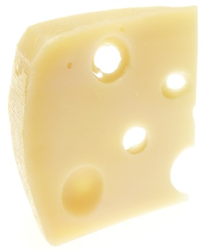 A yellow colored slice of Emmental Swiss cheese