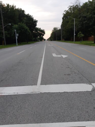 The image depicts a road with white and yellow lines in the middle as nudges